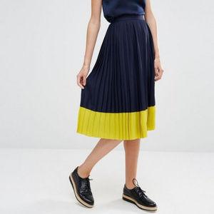 e936de8dcf Whistles Skirts - Whistles Colour Block Pleat Skirt, Navy/Yellow** 4